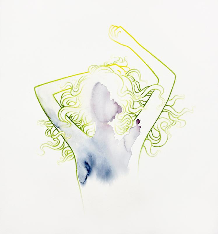 """""""portal"""" 40 x 43 cm, watercolour paint and watercolour pencil on paper, 2018"""