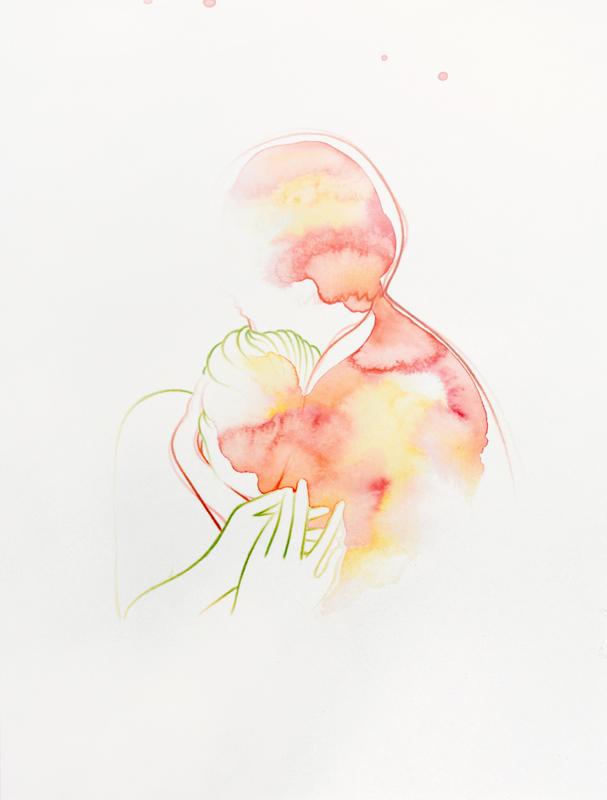 """""""Auren"""" 32,5 x 25 cm, watercolour paint and watercolour pencil on paper, 2019"""