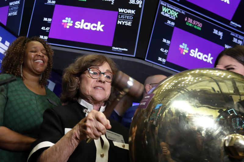 Congratulations Slack! This is the mother of Stewart Butterfiled, Norma Butterfield reigning supreme at the NYSE. AP Richard Drew. The latest Slack branding is violet violet: as in The-Artist-Formerly-Known-as-Prince-violet