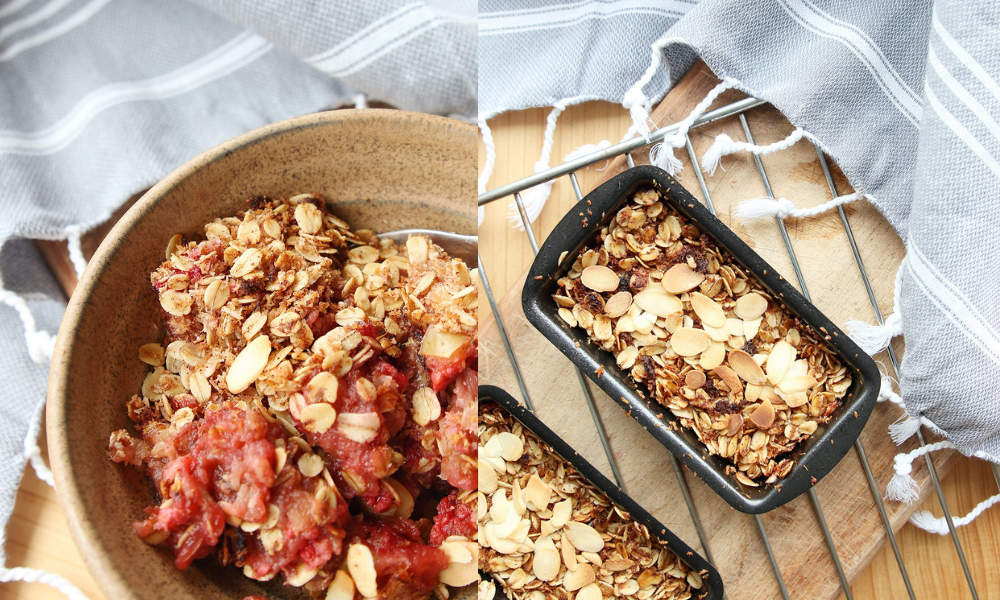 A current favourite recipe - apple, raspberry & coconut baked oatmeal.
