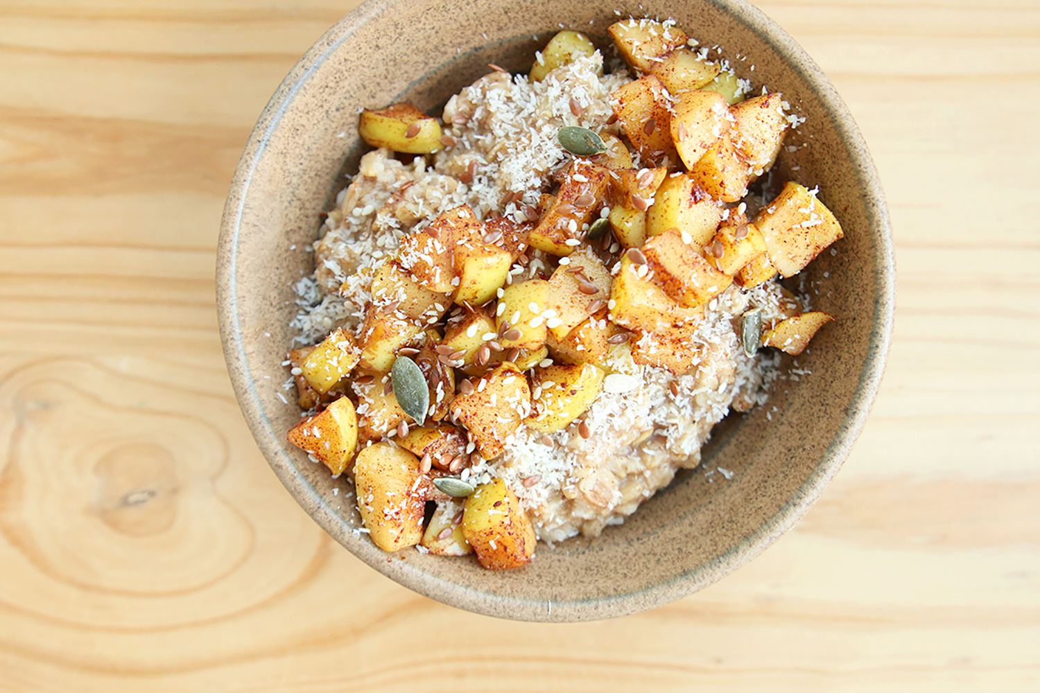 - The coziest apple, honey and cinnamon oat bowl.