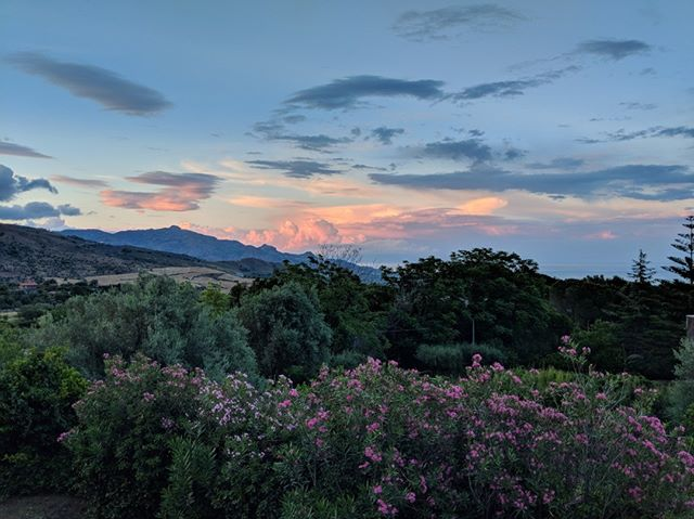 Summer post-sunset with oleanders in bloom, Villa Ama Sicily. #summersunset #instasunset #oleander #sicilia #summerinsicily #italianvilla #sicilyvillas #seaview #instasummer #summerisfleeting #taormina #mediterraneangarden #ioniansea #sicily #cloudformation #twilight