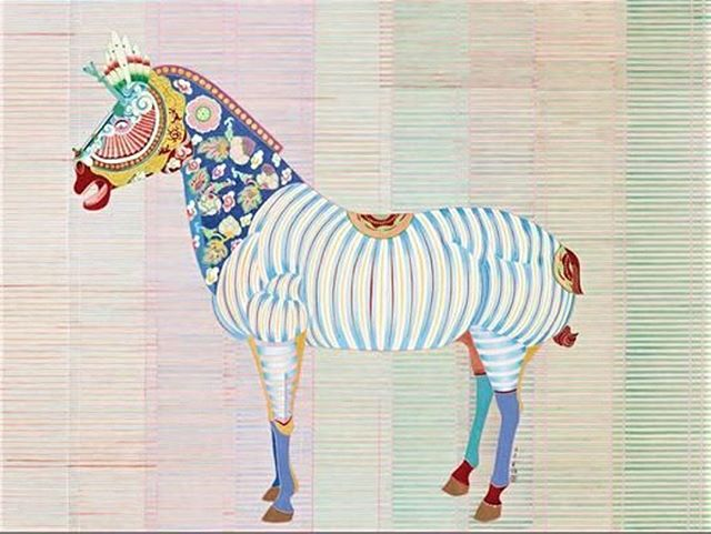 Another member of the Equidae family for today. Colour and ink on silk, by Yuan Jai. #yuanjai #chinesepainting #animalart #silkpainting #equidae #fantasyanimal #chineseart #illustration #contemporaryart #animalsinart #china #inkpainting