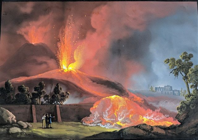 1834 eruption of Vesuvius, gouache on paper. #neapolitanart #eruptions #volcanoes #landscapepainting #nineteenthcenturyart #gouachepainting #vesuvius #italianart #italylandscape #ig_italy #italianarthistory #volcanoesinart #fineart #interiors #kingdomofthetwosicilies