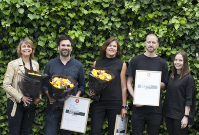 Prisvinnerne fra LEDSTEN ARKITEKTUR og ELEMENT ARKITEKTER Foto: Pernille Münster