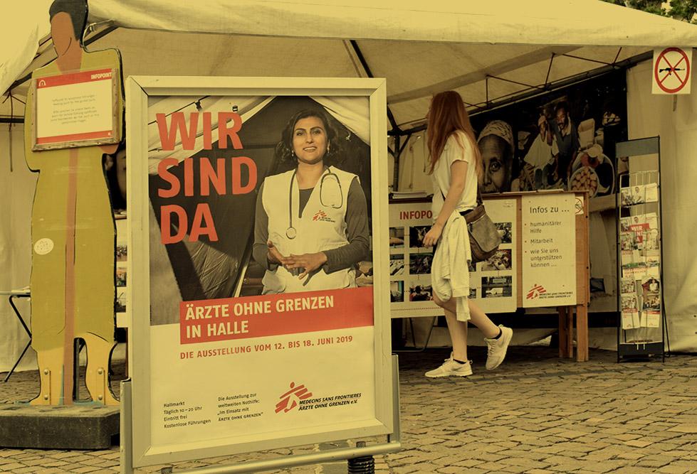 Werbematerial zu Ausstellung Ärzte ohne Grenzen