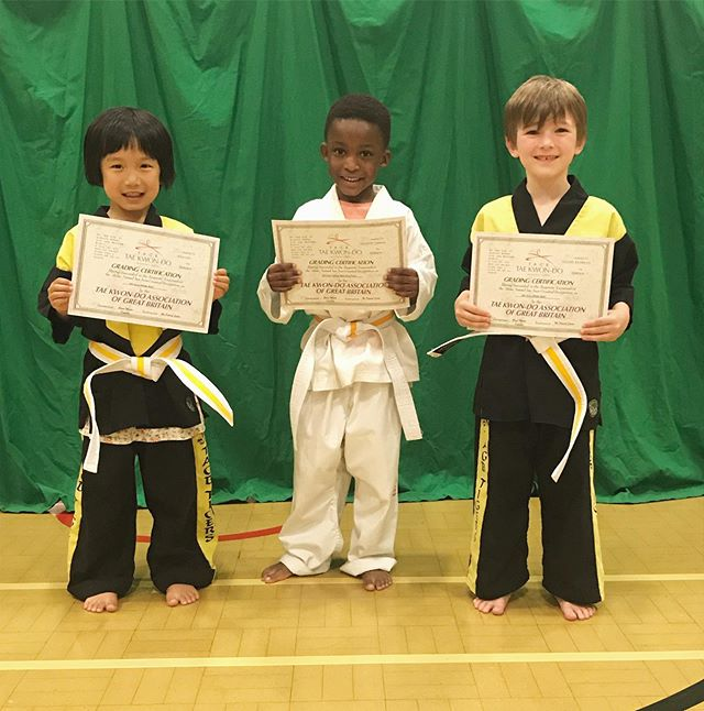 Some new belts in the Tigers Class! Well done to Amy, Aron and Dexter. A special well done to Dexter for this one, as he has persevered for 18 months at white belt in order to be ready for his grading. 🥋💥🐯 #P4TKD #tigers #perseverance