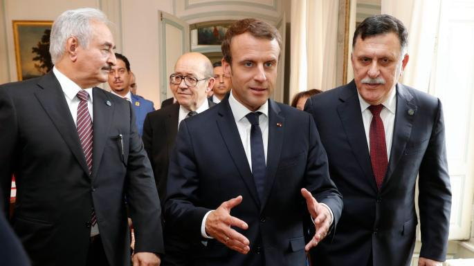 From left: Khalifa Haftar, Libya's renegade general and head of the Libyan National Army; President Emmanuel Macron of France; Fayez al-Sarraj, the head of the UN-backed Government of National Accord in Paris during a peace summit on May 29th, 2018.