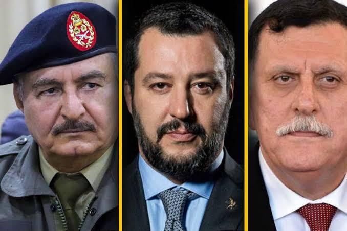 From left: Khalifa Haftar; Matteo Salvini, Italy's Interior Minister and Deputy Prime Minister; Fayez al-Sarraj.