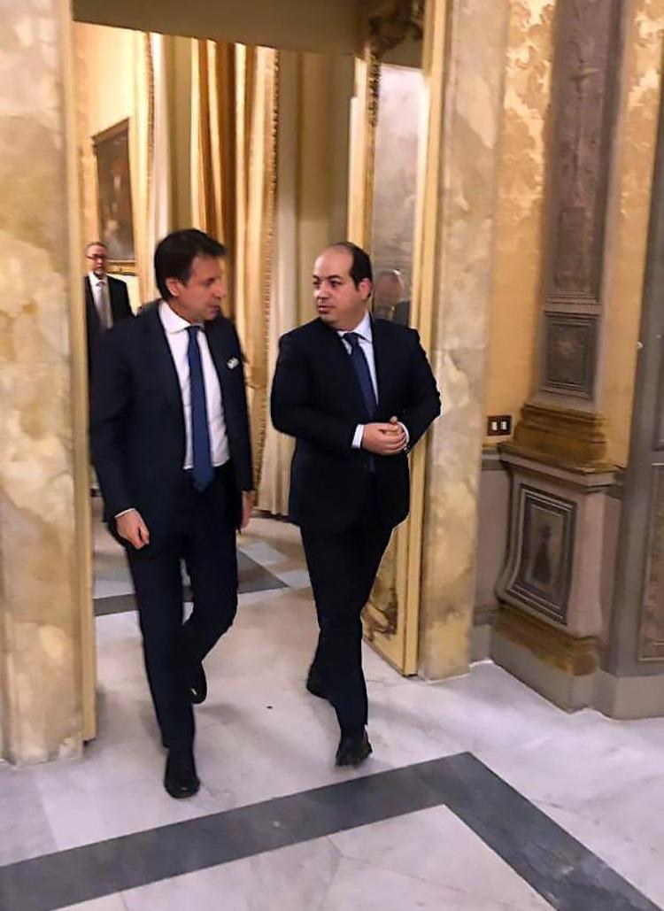 Prime Minister of Italy Giuseppe Conte (left) and Deputy Prime Minister of Libya Ahmed Miitig (right) in Rome on Monday, April 15th.