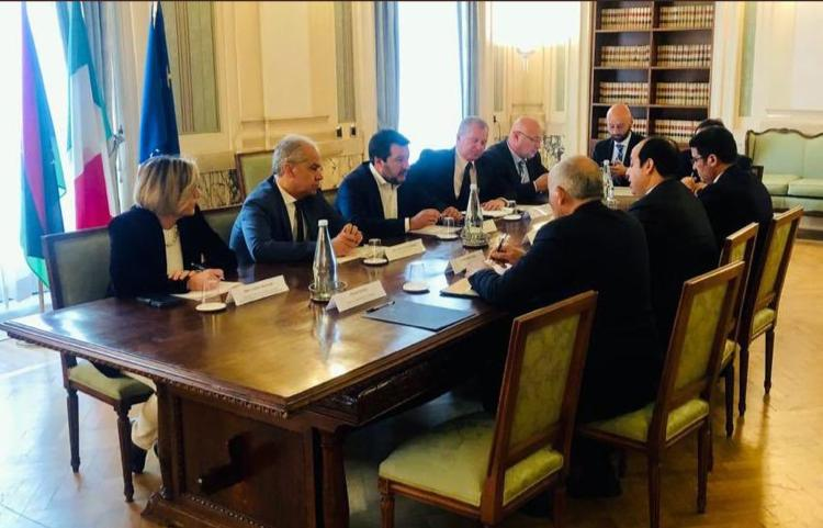 Deputy Prime Minister of Italy Matteo Salvini (centre left) and Deputy Prime Minister of Libya Ahmed Miitig (centre right) in Rome on Monday, April 15th discussing possible solutions to the Libyan crisis.