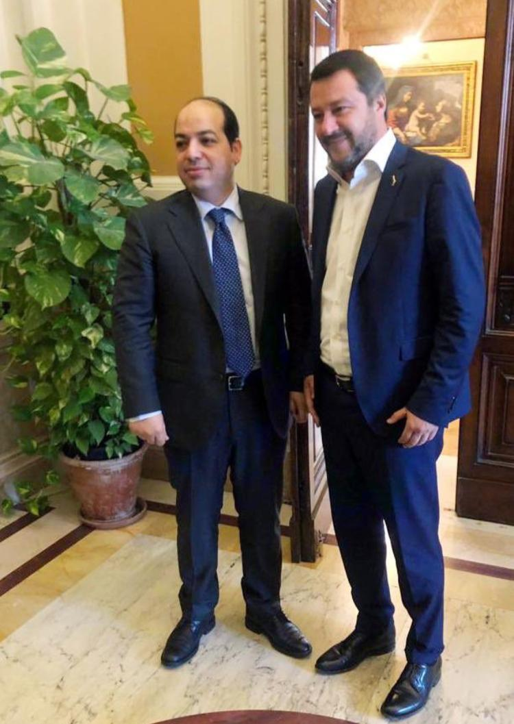 Deputy Prime Minister of Libya Ahmed Miitig (left) and Deputy Prime Minister of Italy/Minister of the Interior Matteo Salvini in Rome on Monday, April 15th.