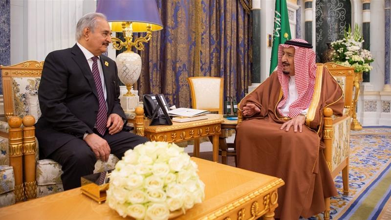 King Salman bin Abdulaziz, right, meets Khalifa Haftar, left, in Riyadh on March 27, 2019. Source:  Al Jazeera .