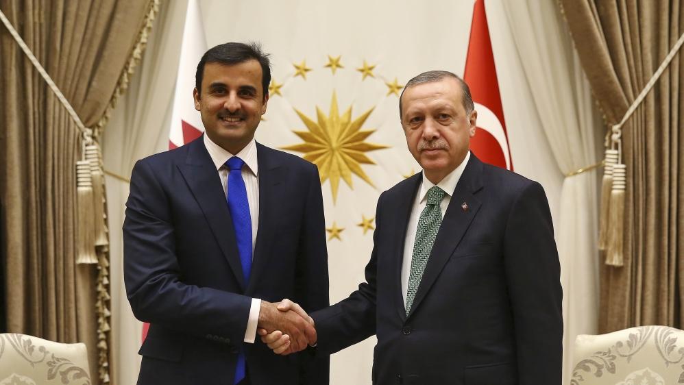President Recep Tayyip Erdoğan with Emir Sheikh Tamim bin Hamad Al Thani of Qatar.