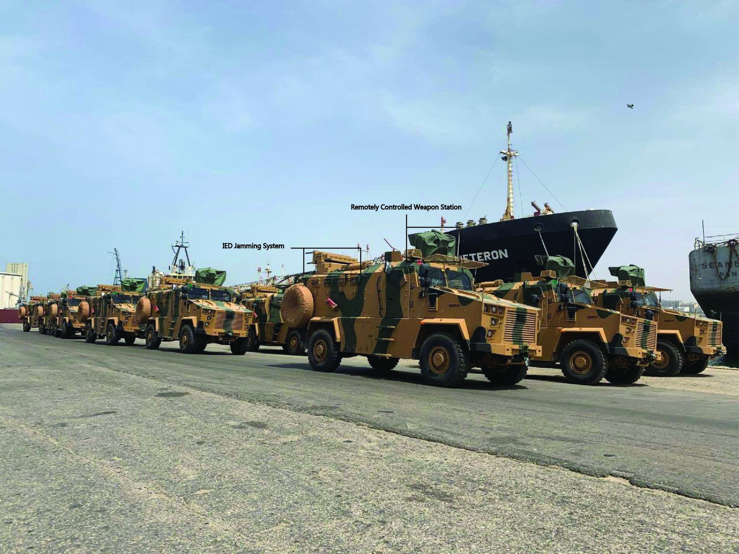 A shipment of Turkish-made BMC Kirpi mine-resistant ambush protected (MRAP) vehicles being unloaded in Tripoli's main port in May 2019.