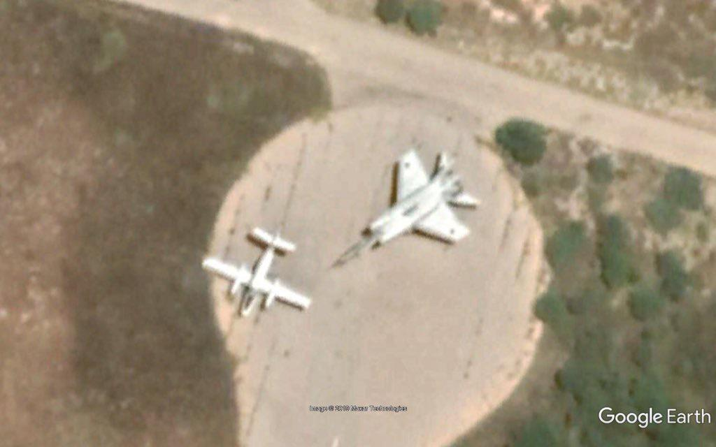 Google images circulating on social media showing GNA military planes stationed at Mitiga Airport.