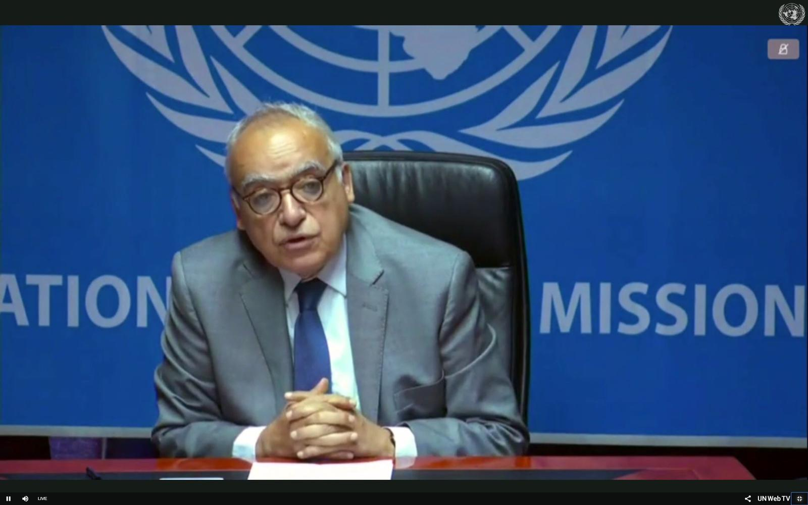 UN SRSG Ghassan Salame briefing the UNSC about the recent escalation of violence in Libya on July 30th, 2019.