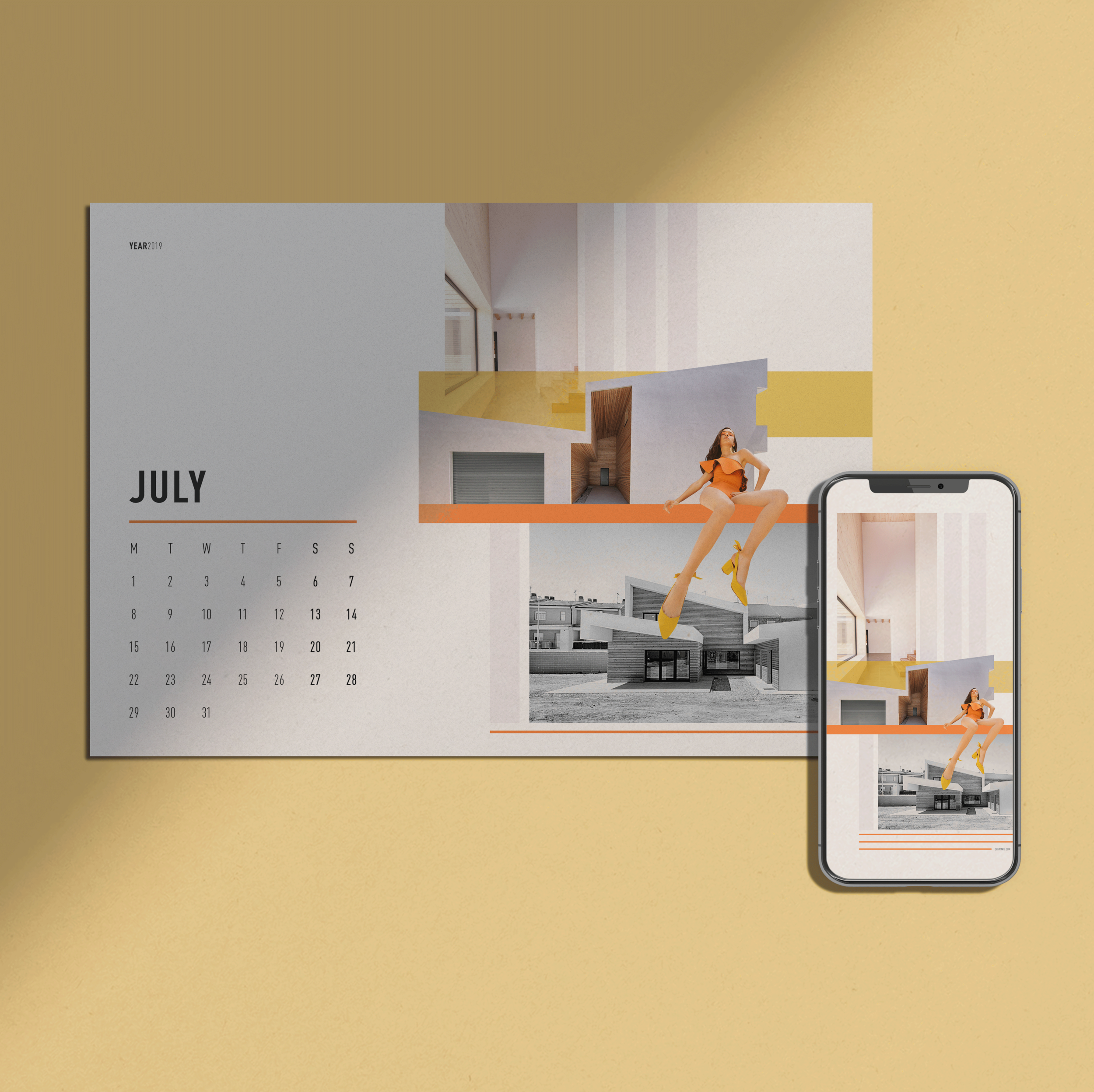 Monthly Calendar + Wallpaper /  JULY 2019    FREE DOWNLOAD