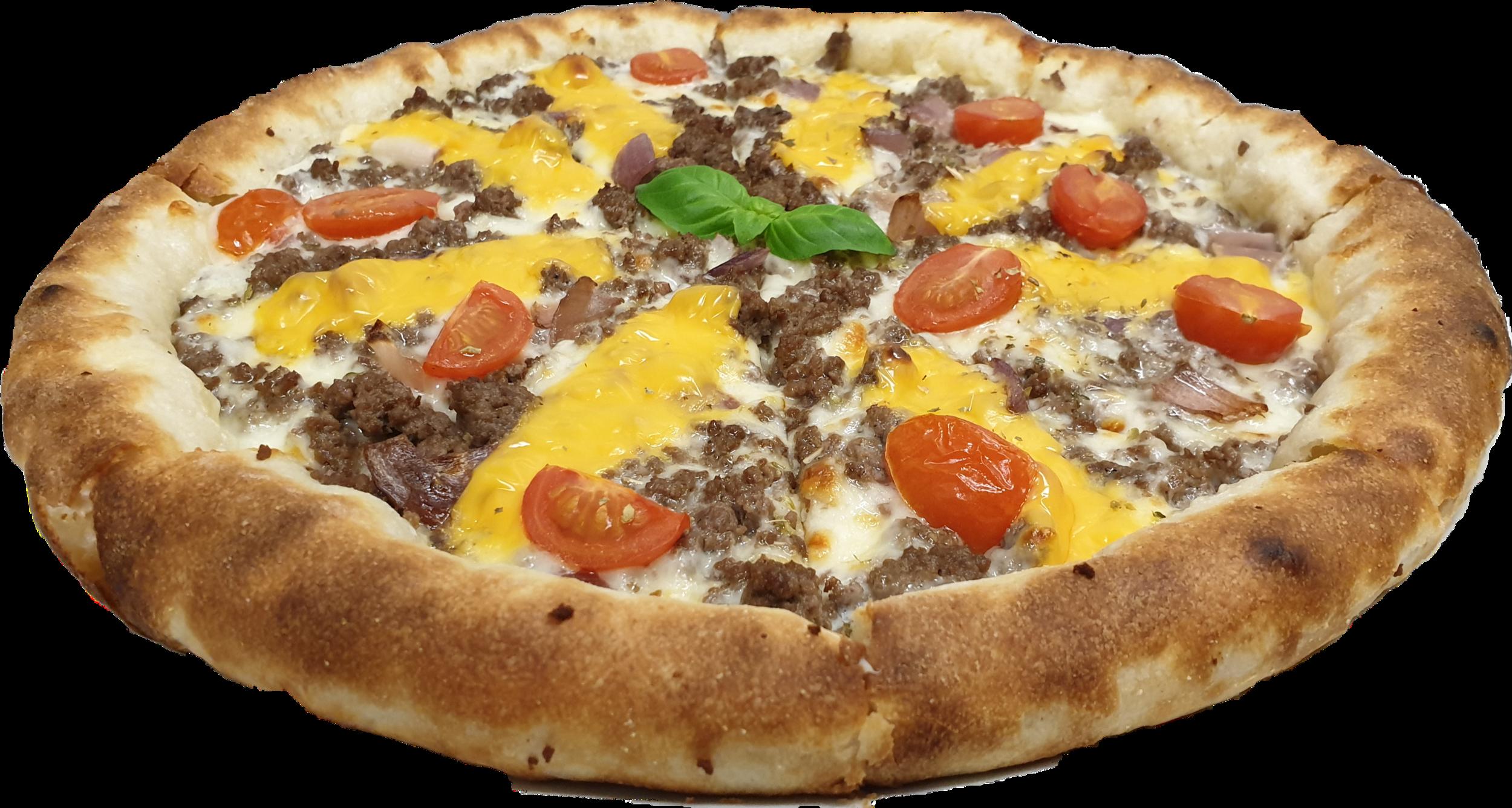 Sahnesauce, Mozzarella, frisches Rinderhackfleisch, Cherrytomaten, Schmelzkäse, gegrillte Zwiebeln