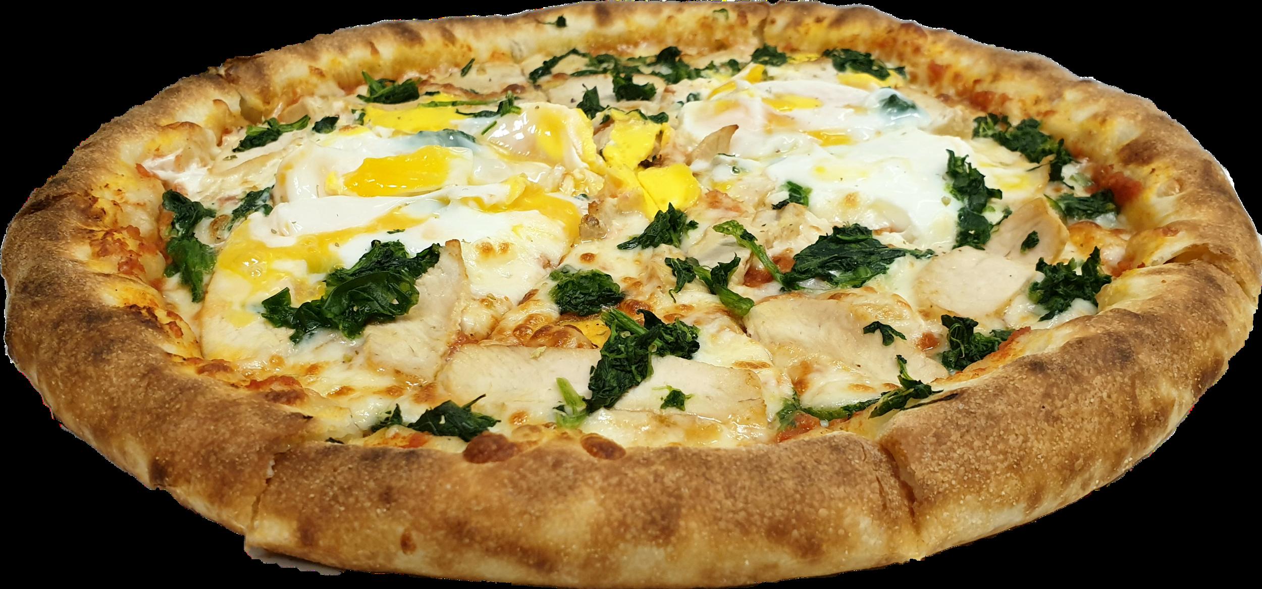 Tomatensauce, Mozzarella, Chicken, Eier, Spinat