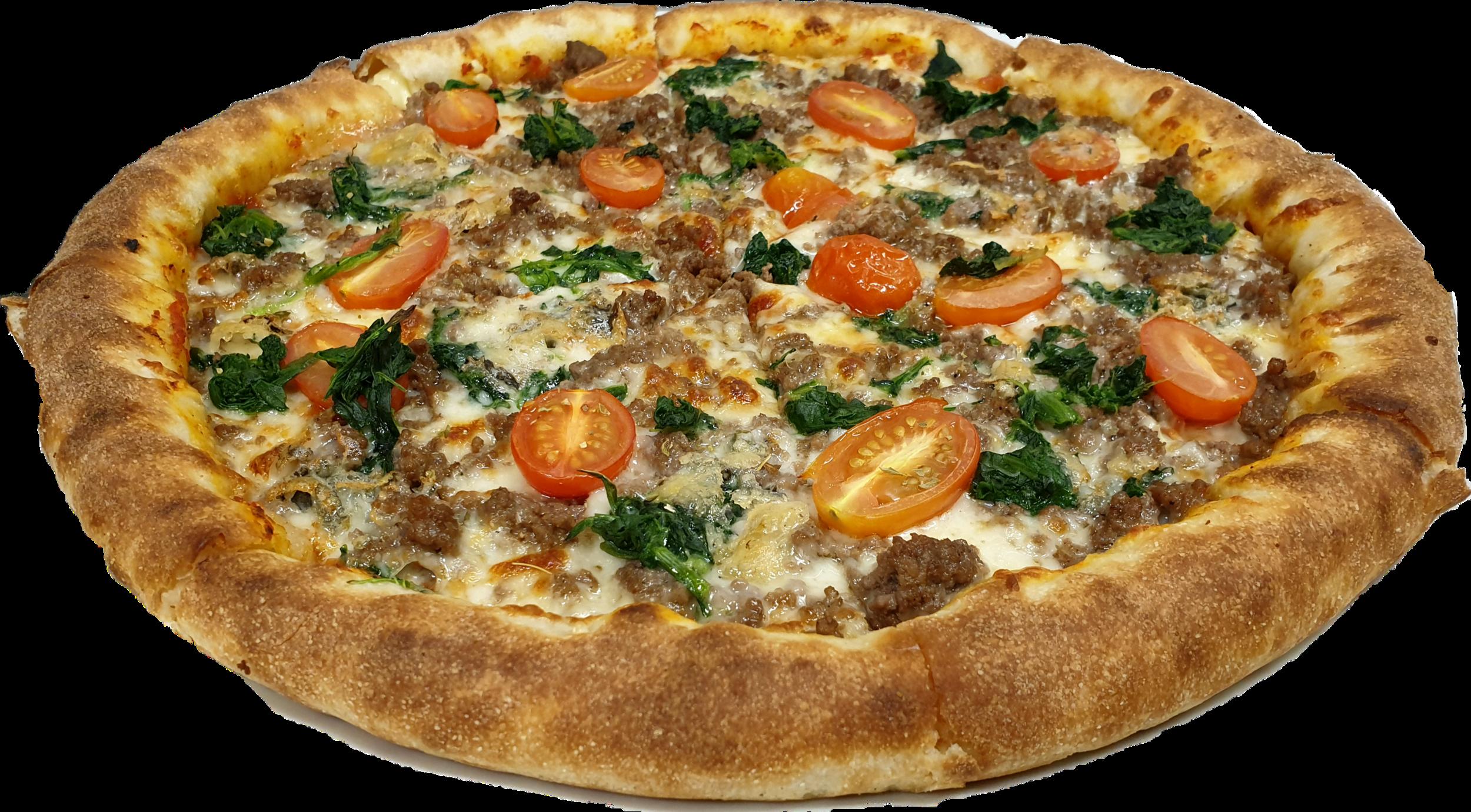 Tomatensauce, Mozzarella, frisches Rinderhackfleisch, Gorgonzola, Cherrytomaten, Spinat
