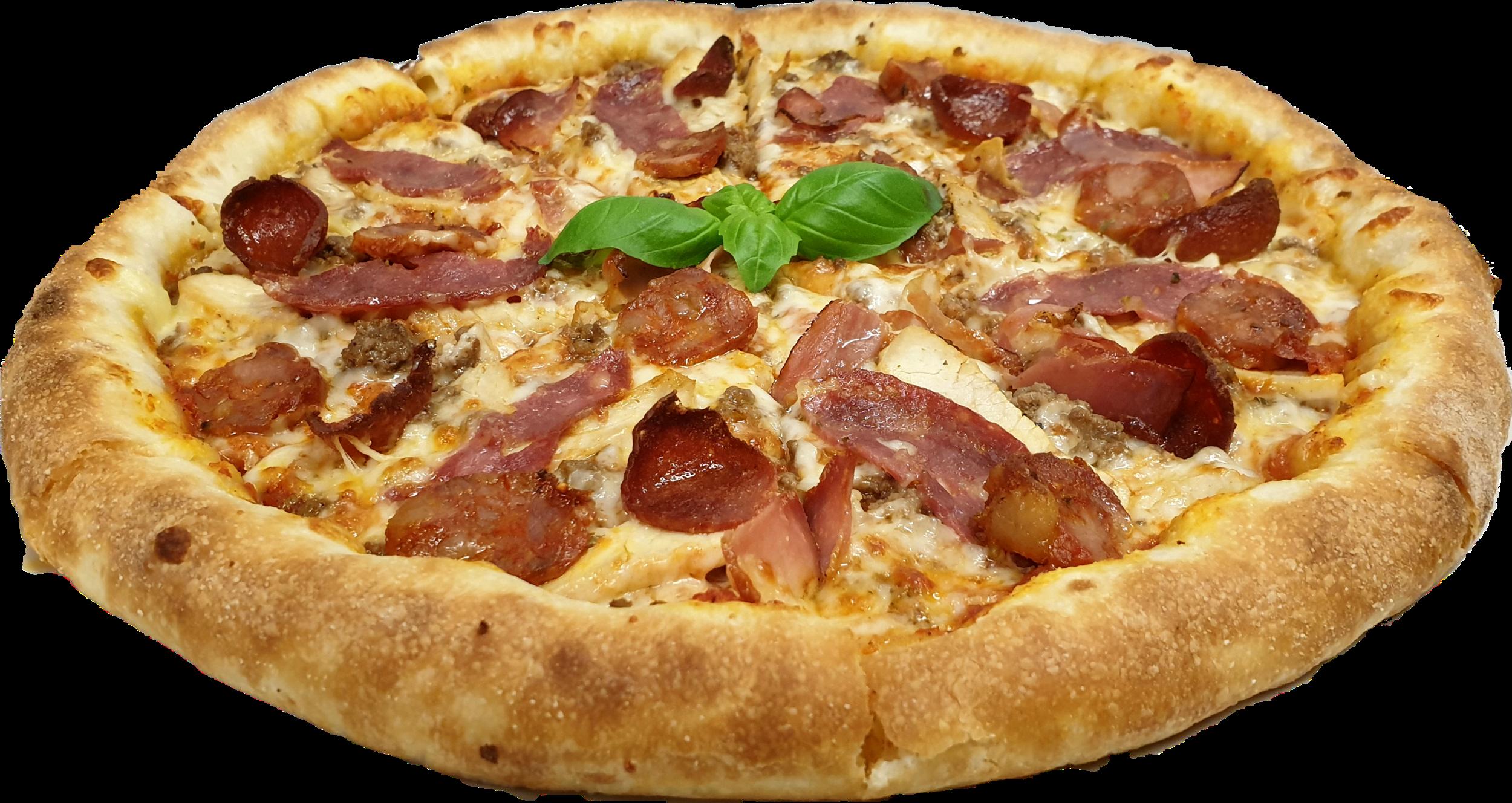 Tomatensauce, Mozzarella, frisches Rinderhackfleisch, Salami, Salsiccia, Efepasa Sucuk, Chicken, Bacon
