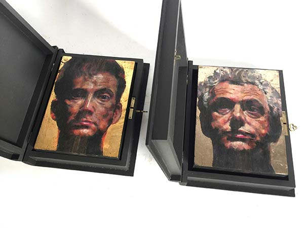 Bog Oak Icons - Freestanding icons on circa 5000 year old bog oak contained in a carrying boxPanels: Oil pigment suspended in sun bleached beeswax and two shades of 23 carat gold on bog oak17 x 13 x 3.7 cmBook Box: Acrylic, size and 23 carat gold on plywood21.1 x 17 x 4.6 cm (when closed)2018