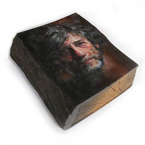 The Book of Neil Gaiman - (The Bog Oak Portrait)Oil and beeswax on prehistoric bog oak sculpted by artist Adrian Swinstead.Circa 37 x 30 x 10 cm2017
