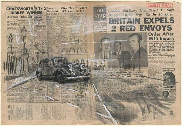 GOOD OMENS - The Bentley - Charcoal on The Star newspaper of 8th May 195441 x 60 cm2017