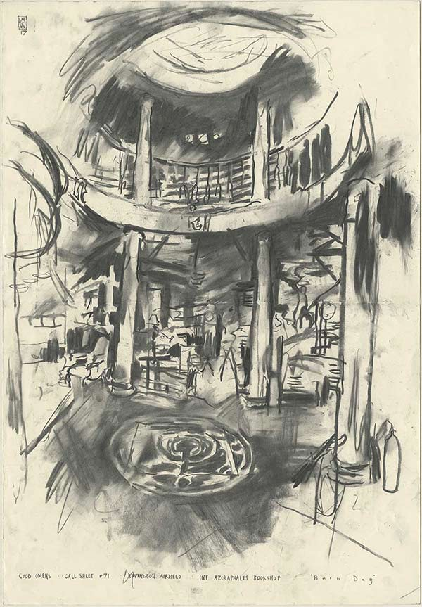 GOOD OMENS Call Sheet #71 BOVINGTON AIRFIELD INT. AZIRAPHALE'S BOOKSHOP -'B u r n D a y' - Charcoal on paper81 x 56 cm2017
