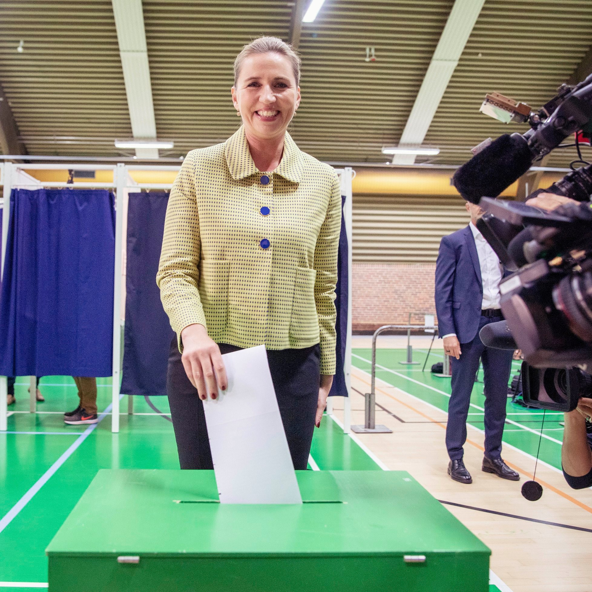 Mette Frederiksen, leader of the Social Democrats, casts her vote. She now leads tricky government negotiations. Credit: Socialdemokratiet