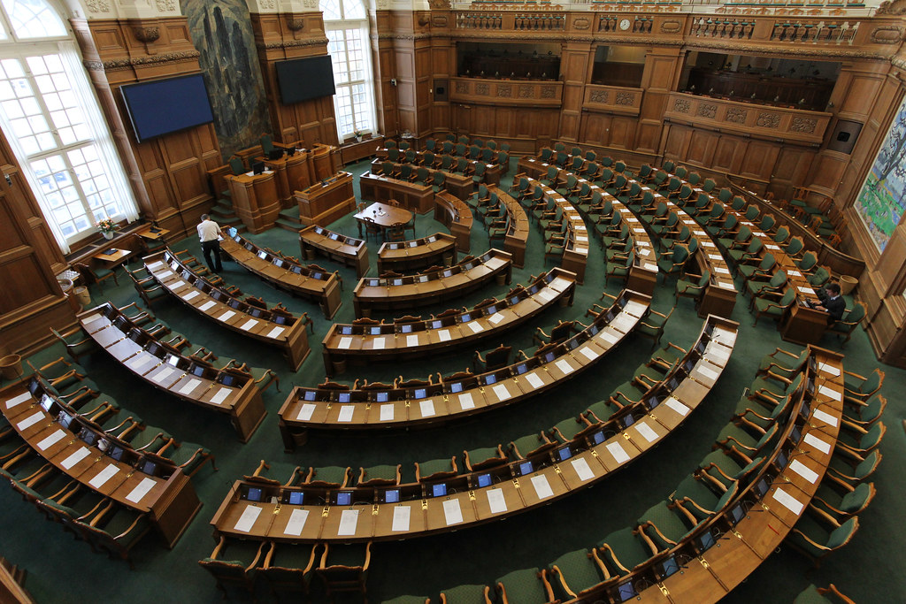 The Danish parliament Folketinget.  By    Peter Leth   , licensed under    CC BY 2.0