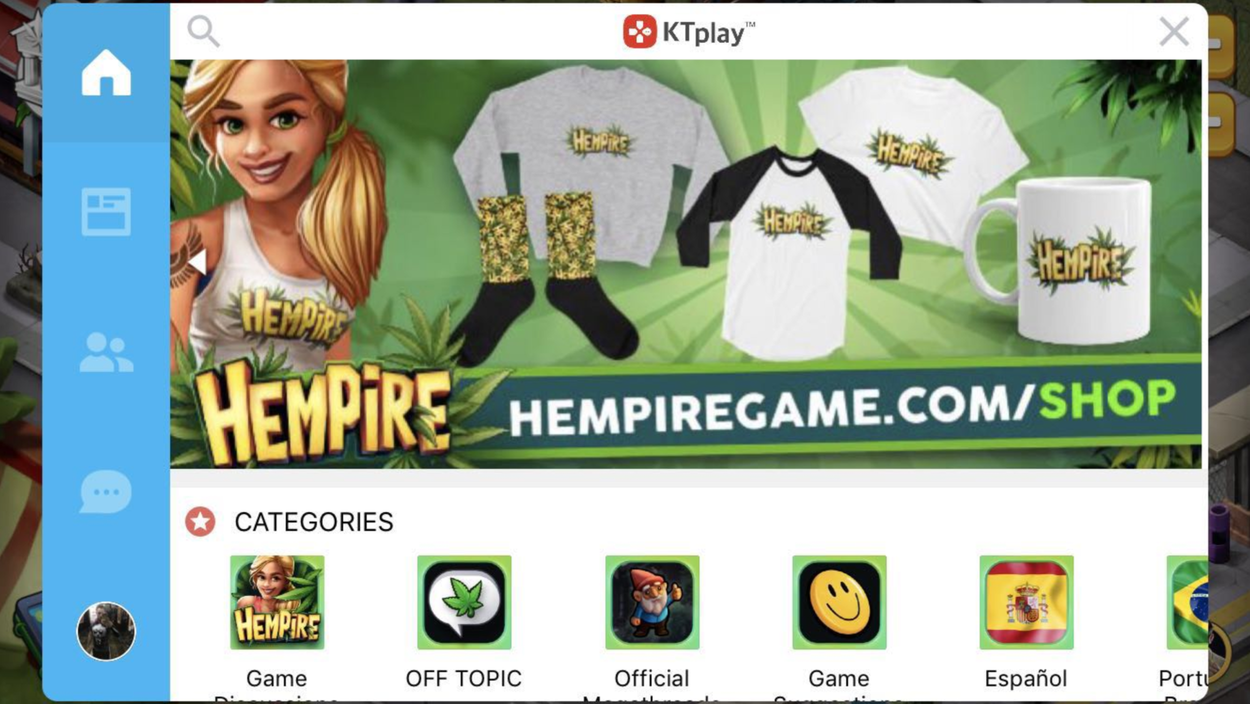 """""""Where did you get that awesome T-shirt, Buzz?""""    """"I won it playing Hempire!"""""""
