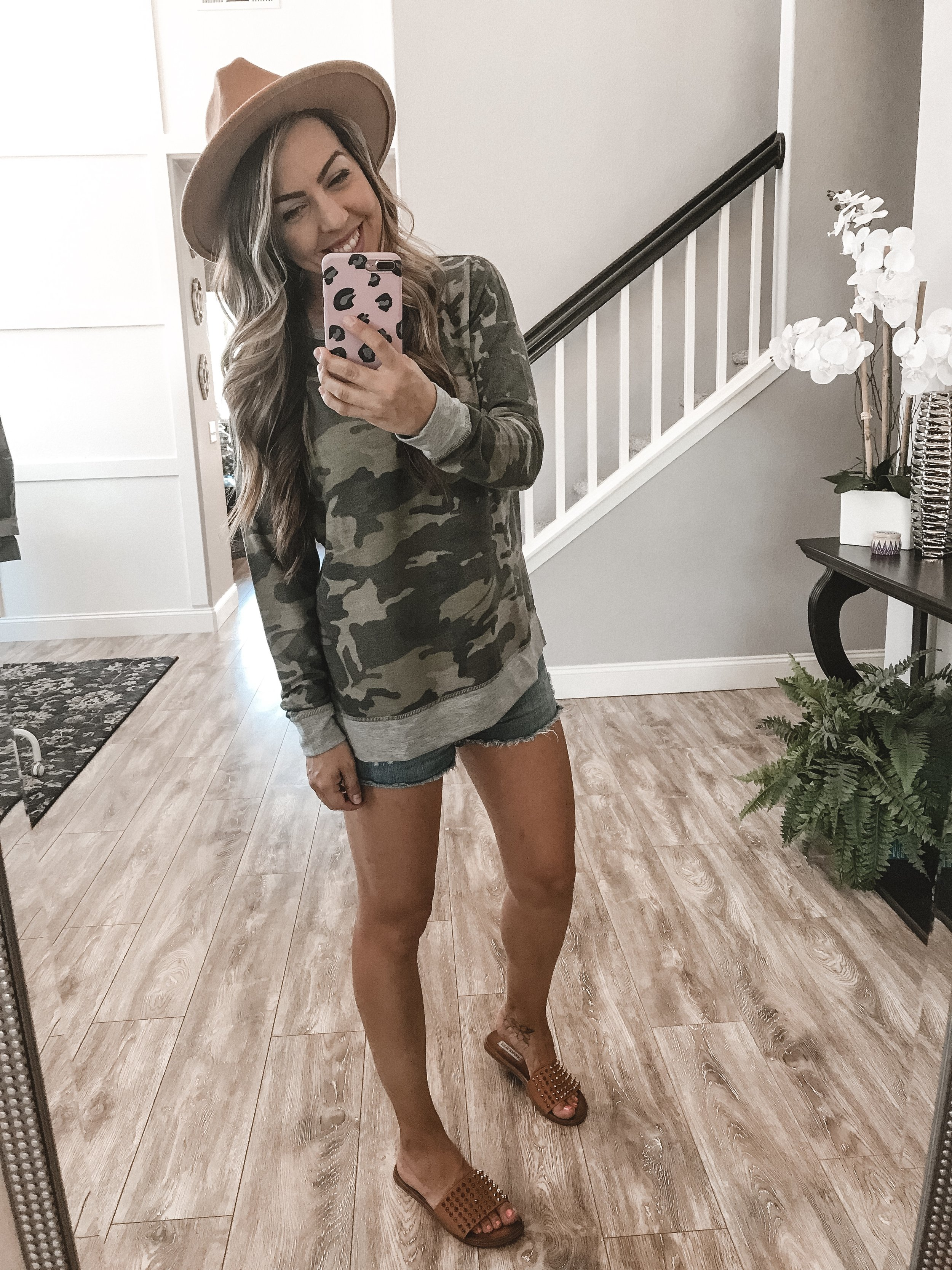 Casual Day Look - This is such an easy casual and stylish look!Camo SweaterJean ShortsHatSandals