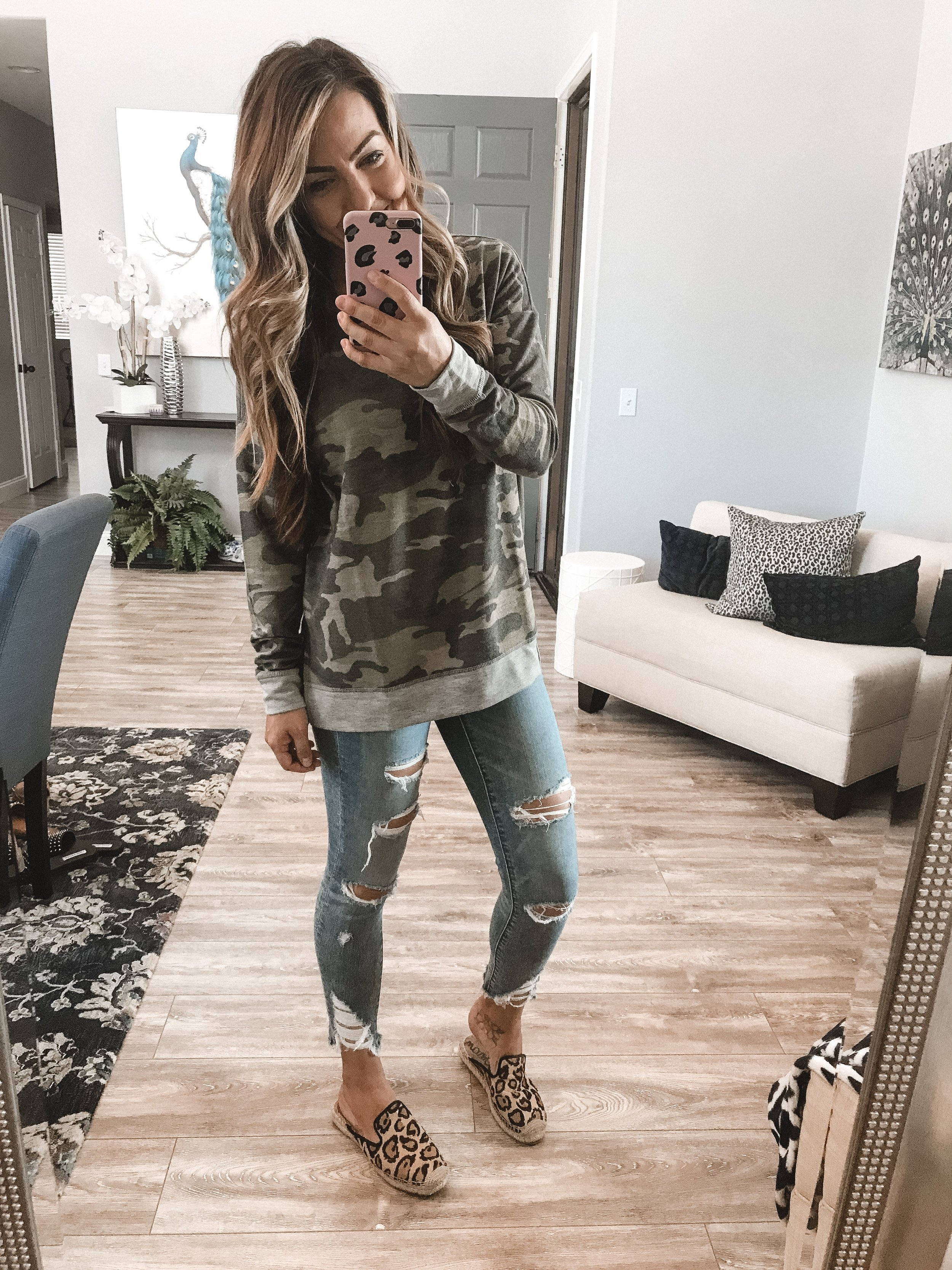 Cooler Nights Look - Perfect for a quick dinner with the family!Camo SweaterJeansShoes