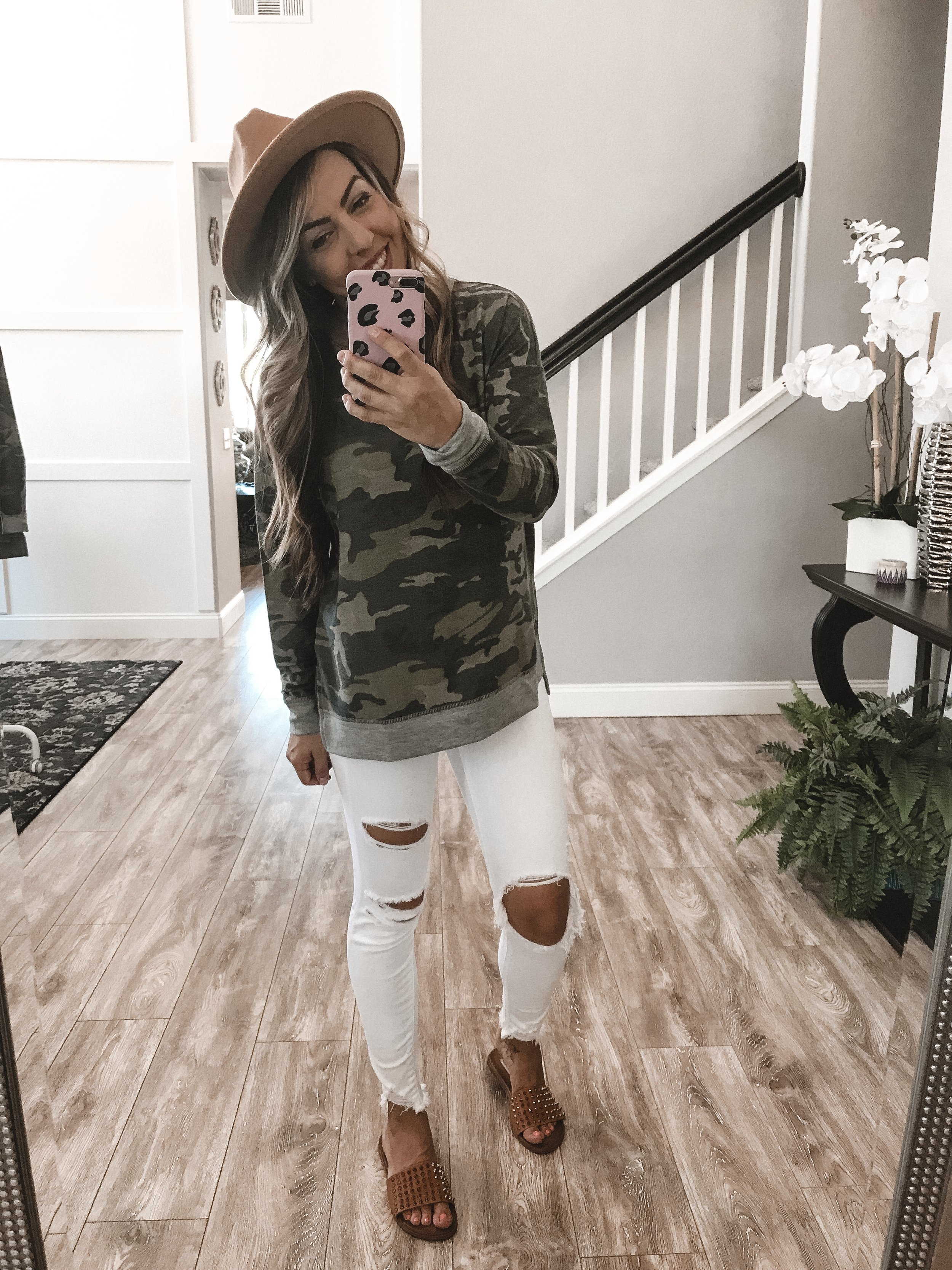 Camo and White Is My Fav! - Camo SweaterJeansSandalsHat