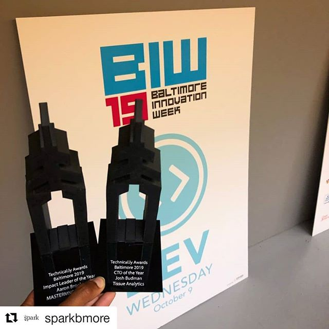 #Repost @sparkbmore ・・・ Congrats to #sparkbmore members Aaron Brooks of @mastermndio & @fearlessbmore for being named Impact Leader of the Year AND to Josh Budman of Tissue Analytics for being named CTO of the Year by @technical_ly! The Spark team was onsite to celebrate our member wins during @baltimoreinnovationweek's #DevDay happy hour! 🏆👨💻💪 . #BIW19 #baltimore #tech #sparkbmore #bmoretech
