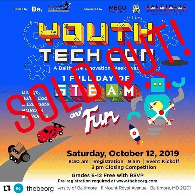 #Repost @thebeorg ・・・ That's it, that's all folks! Youth Tech Con has reached capacity and we are sold out! On Saturday, we will welcome 100 youth to our creative space of robots, drones, and friendly competition. • • We are still in need of volunteers, so send us a DM if you can help out. Happy Innovation Week, Baltimore!  #thebeorg #stem #biw2019 #baltimoreinnovationweek #biw19 #education #robotics #sel #competition #youthtechcon