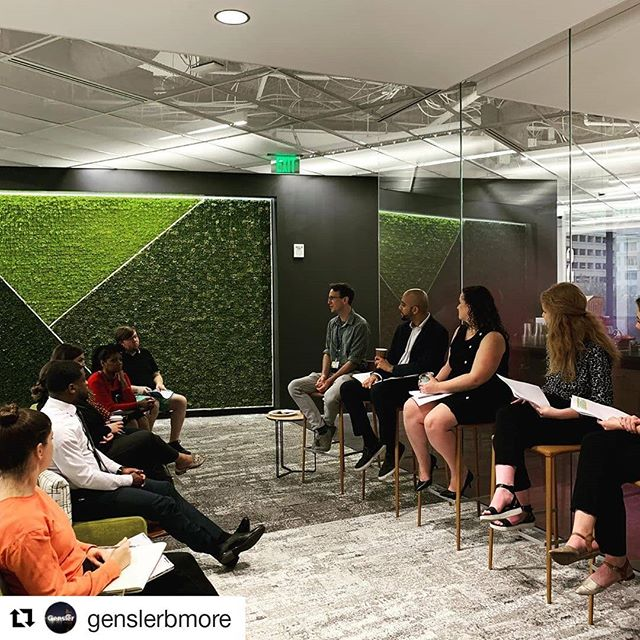 """#Repost @genslerbmore ・・・ """"How can space support creativity and innovative culture?"""" We loved our panel and tours this morning that helped us explore that question! Thanks to everyone that attended, and to our panelists Kevin Carter with Fast Forward U,  Ronjon Bose with T. Rowe Price as well as our very own Dana Verbosh. Moderated by Hannah Brokos and Natalie Steimer! #baltimoreinnovationweek #genlserbmore"""