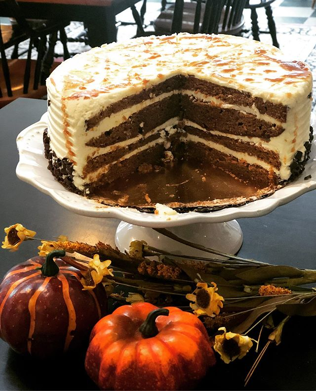 Fall is in the air! Come try our Pumpkin Cake with Buttercream Frosting and a Salted Caramel Drizzle! Perfect way to finish off the weekend! #mushrooms #mushroomscafe #fall #cake #pumkin #yum #local #kennettsqaure #chaddsford #westchester #eatfresh #eatlocal