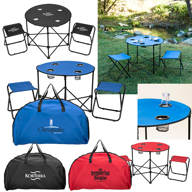A portable table and matching folding stools make the perfect accessories for camping trips. The table is just the right size to lay out a board game for a fun-filled outdoor game night.