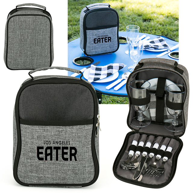 Plates and silverware? Check. Cups? Check. This adorable set contains everything needed for a picnic for two. Thanks to you, all they'll have to pack is their favorite food and drinks.