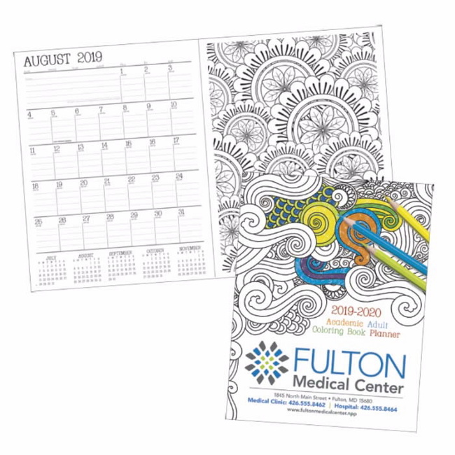 Coloring Calendar: Adult coloring book planner - Keep track of your schedule and take a doodle break when needed. This planner combines the relaxing benefits of a coloring book with the practical features of an academic calendar.