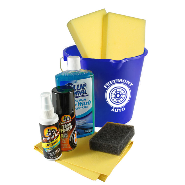 A clean car is always nice, but paying for it isn't as fun. Give your customers and employees a kit that includes everything they'll need to get a showroom shine in their own driveway.