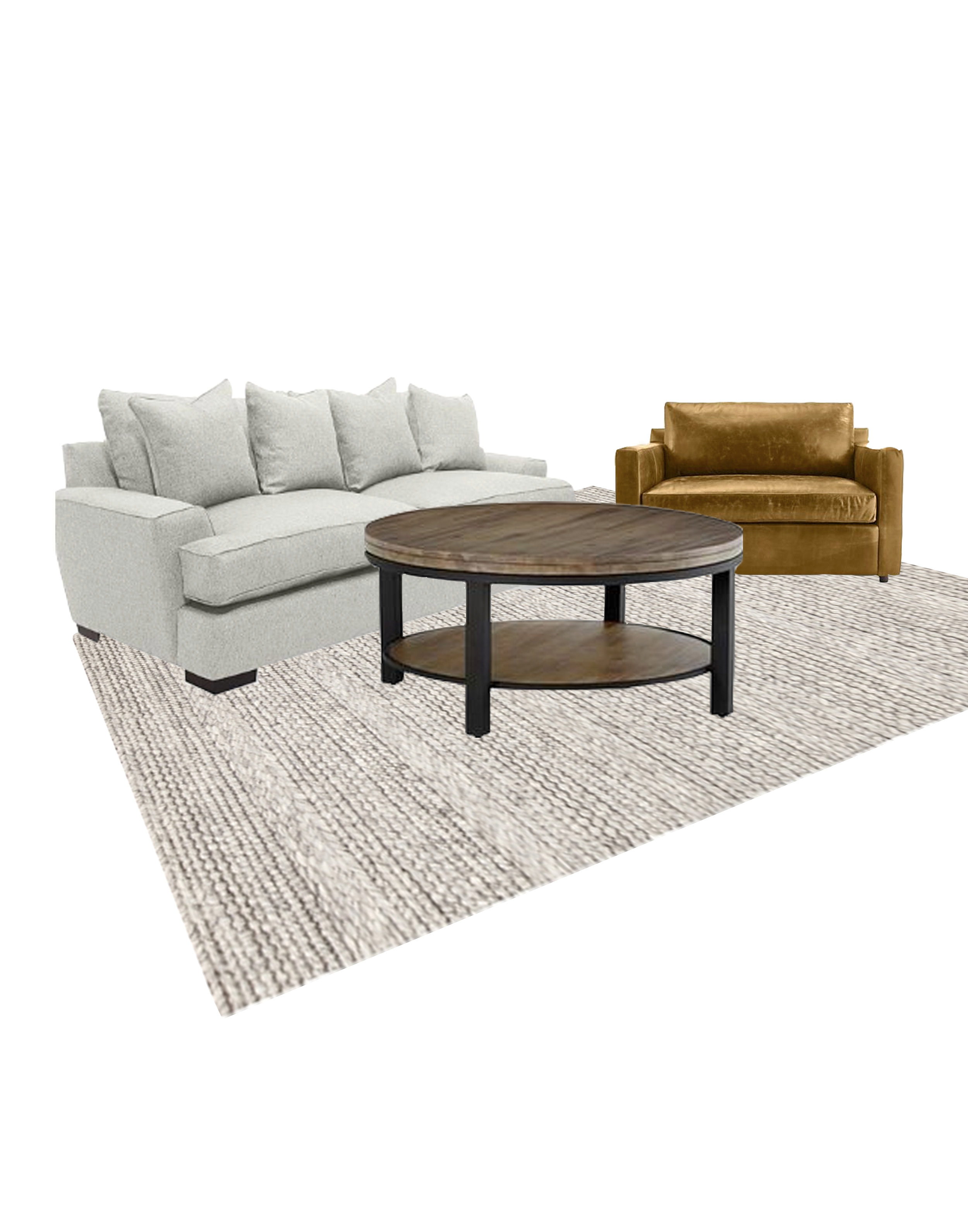 Couch, chair, coffee table and rug.