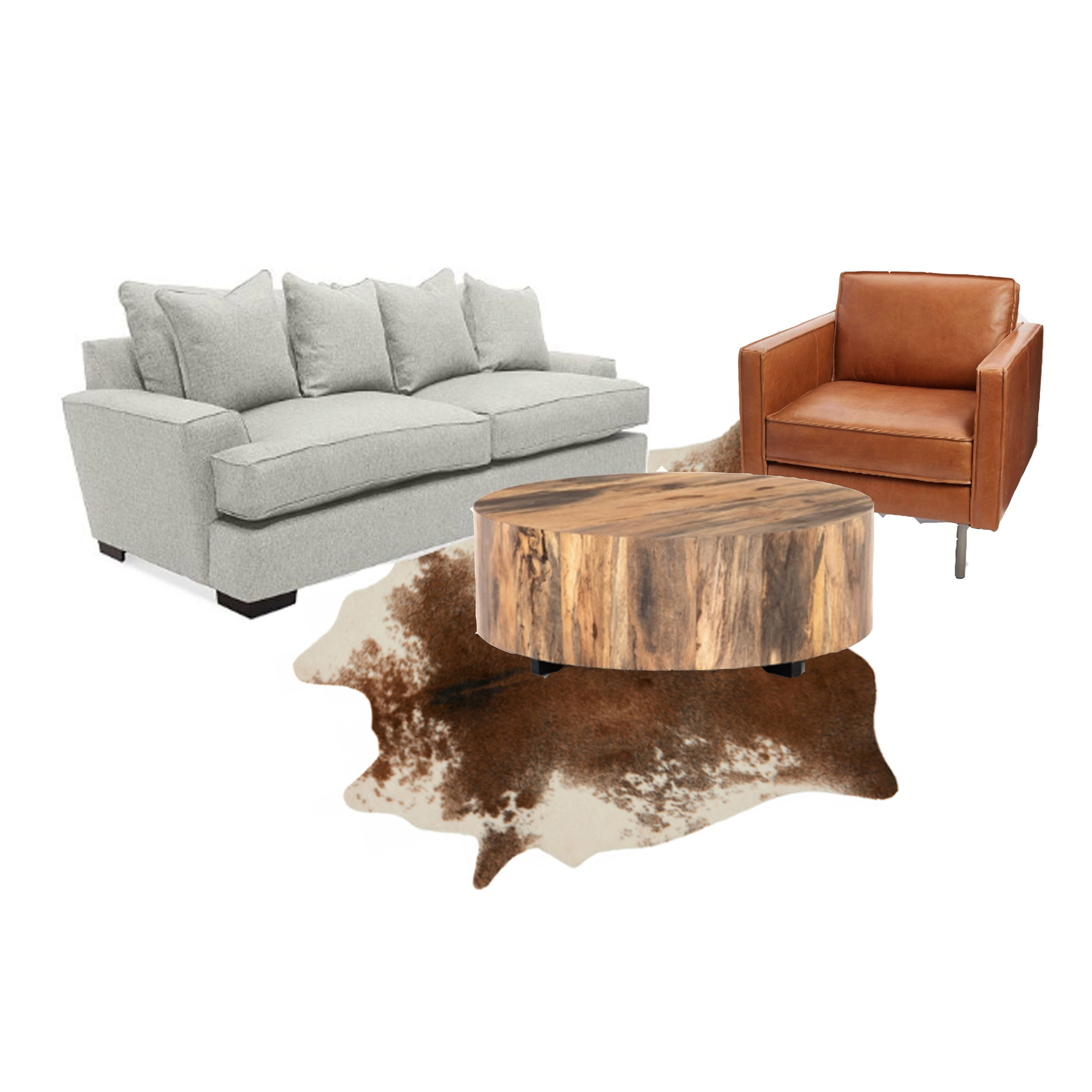 Couch, chair, coffee table, and fur rug.