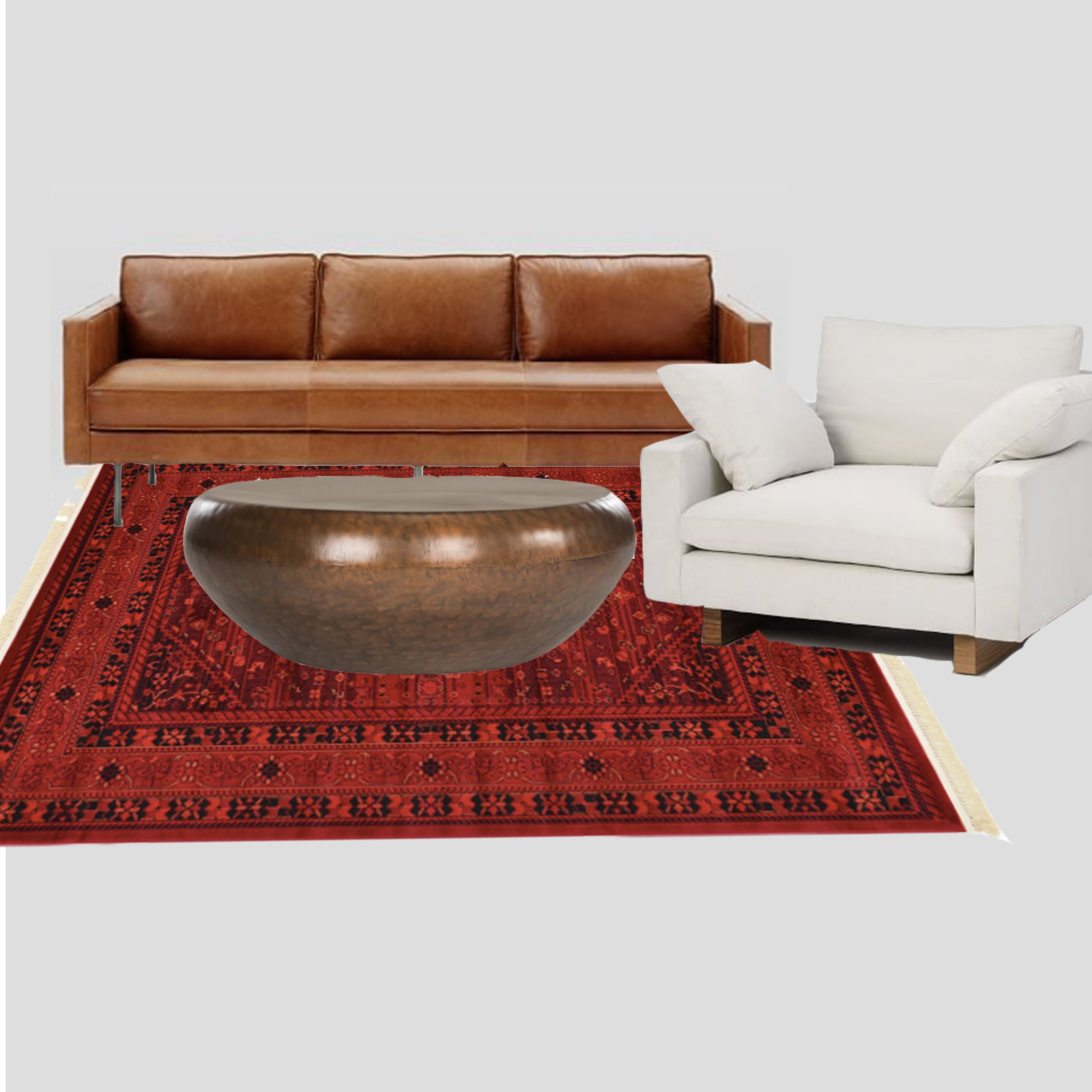 Couch, chair, coffee table, and rug