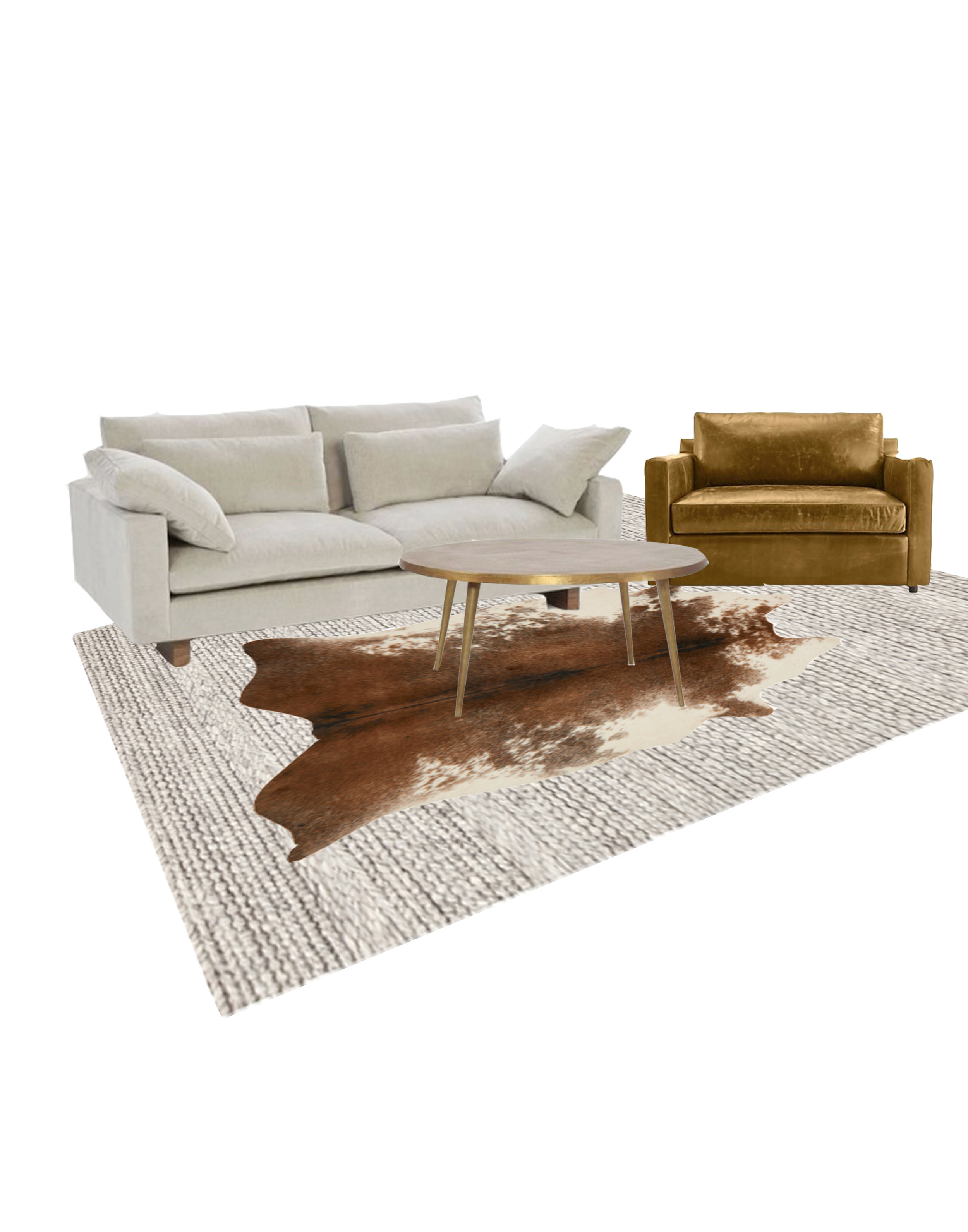 Couch, chair, table, fur rug, and jute rug.