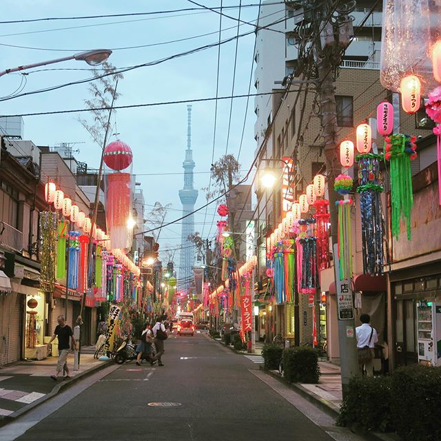 明日は七夕祭りです‼︎ Tomorrow is Tanabata Festival, or the Star Festival. July 7th celebrates the one day a year when star-crossed lovers Amaterasu, the sun goddess, and Hikoboshi are allowed to meet. Head over to Kappabashi-dori where you can see the Sky Tree standing tall behind the beautiful decorations. You can even write your wish on a strip of paper (tanzaki) and tomorrow it might come true! ・ ・ ・ ・ #japan #japanese #tanabata #starfestival #amaterasu #kappabashi #asakusa #japanesetranslator #translation #tokyo #tokyoskytree #skytreetower #cityscape #日本 #七夕 #祭り #東京 #スカイツリー #浅草 #かっぱばし #河童 #河童橋 #翻訳 #天照 #夜の散歩