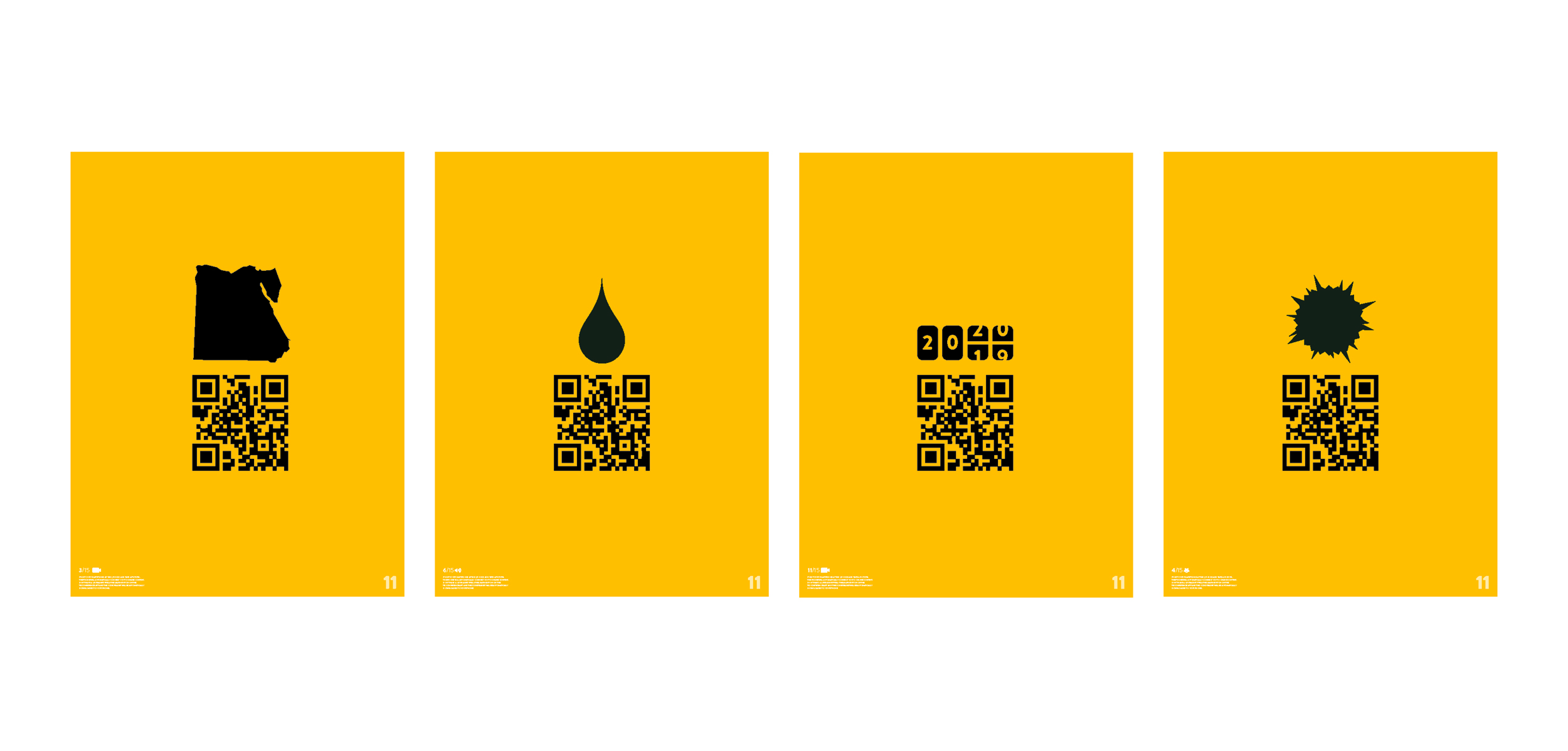 """Poster Series - featuring the world's most pressing """"techonomic"""" issues, with QR links for more information on the website"""